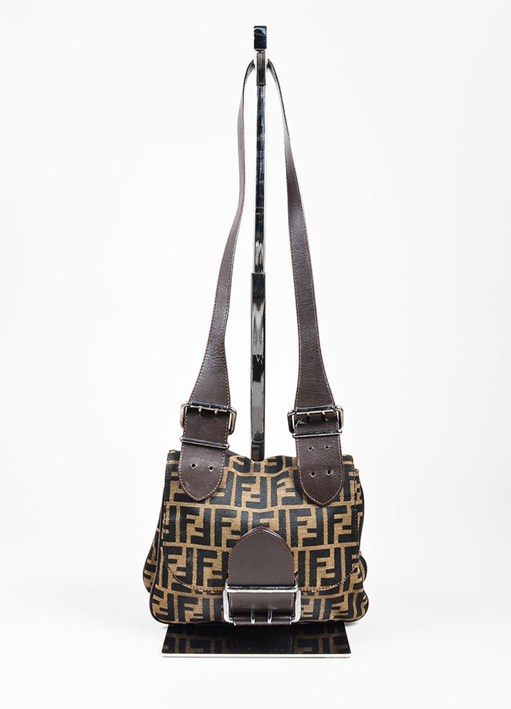 Brown and Black Fendi Canvas and Leather Monogram Crossbody Belt Bag Frontview