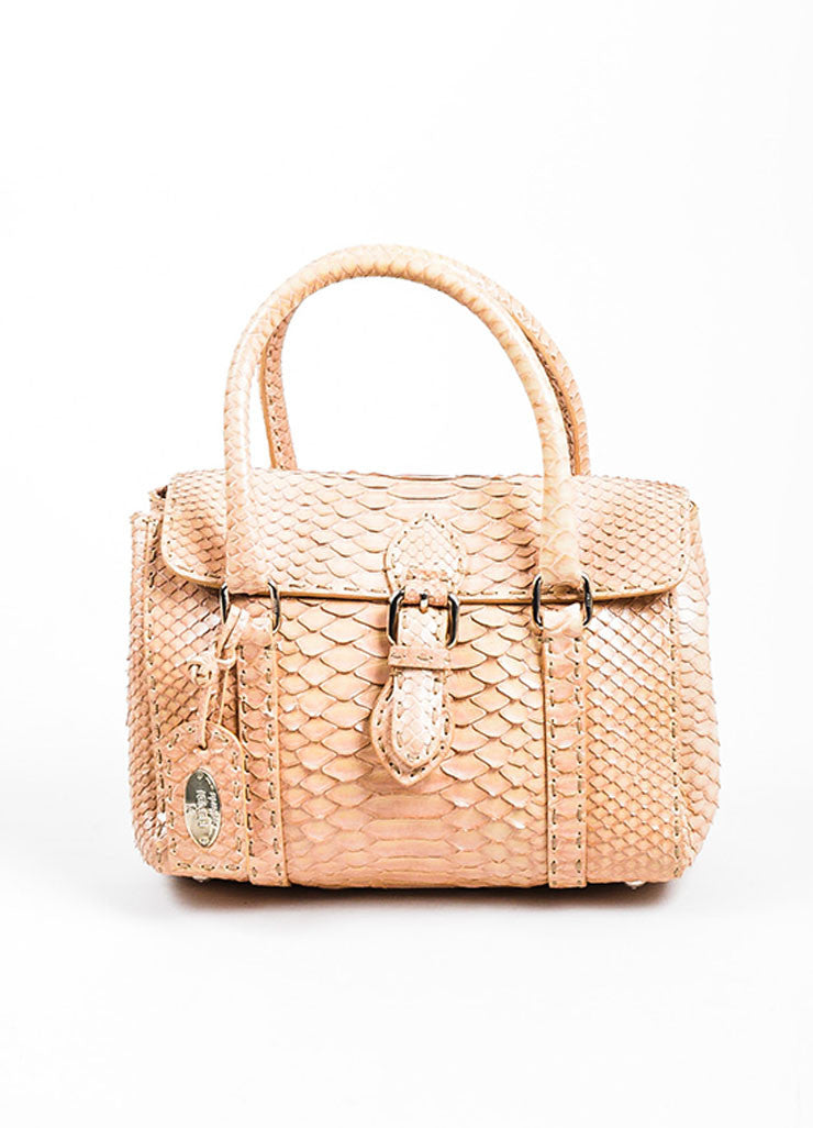 "Tan Fendi Python Snakeskin ""Selleria Linda"" Top Handle Small Handbag Frontview"