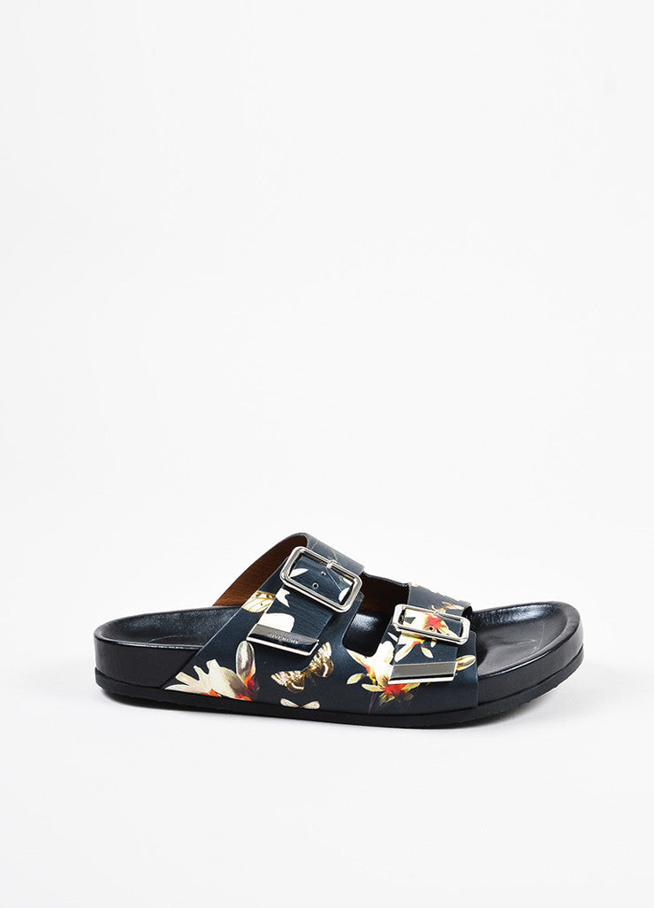 Black and Multicolor Givenchy Floral Print Dual Buckled Slide Sandals Sideview