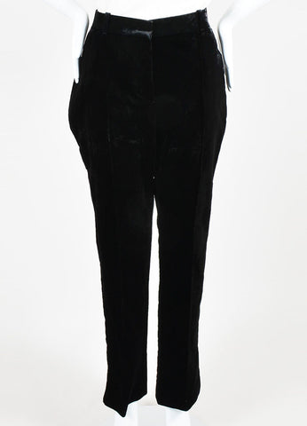 Black Givenchy Velvet High Waisted Straight Leg Trouser Pants Frontview