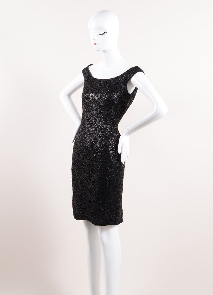 Gucci Black Coated Floral Lace Overlay Sleeveless Boatneck Sheath Dress Sideview