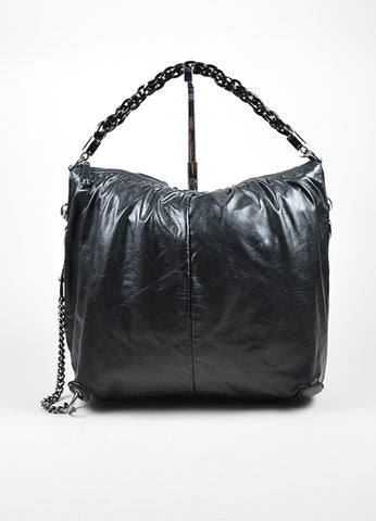 "Black Gucci Leather Top Zip Asymmetrical Slouchy ""Galaxy"" Hobo Shoulder Bag Frontview"