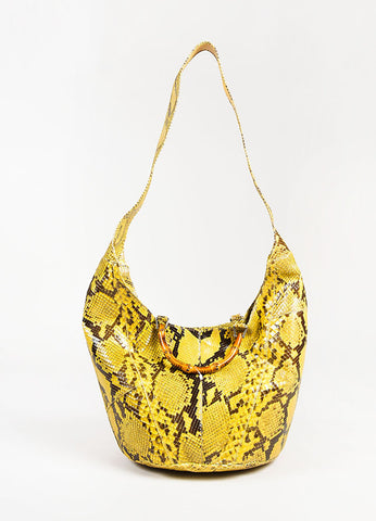 Gucci Brown and Yellow Python Leather Bamboo Handle Hobo Bag Frontview