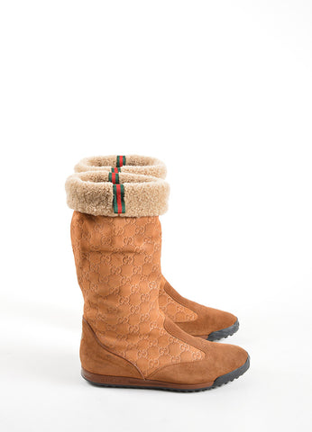 "Gucci Tan ""GG"" Monogram Shearling Mid Calf Boots Sideview"