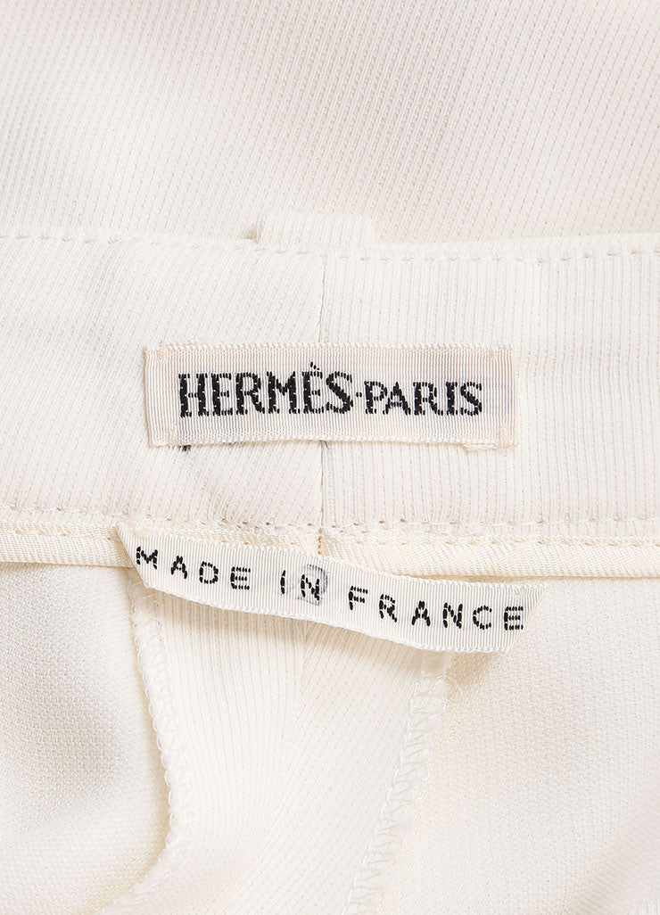 Hermes Cream Silky Pleated Wide Leg Dress Pants Brand
