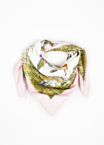 "Pink and Green Hermes Silk Bird Print ""Halte en Camargue"" Square Scarf Frontview"