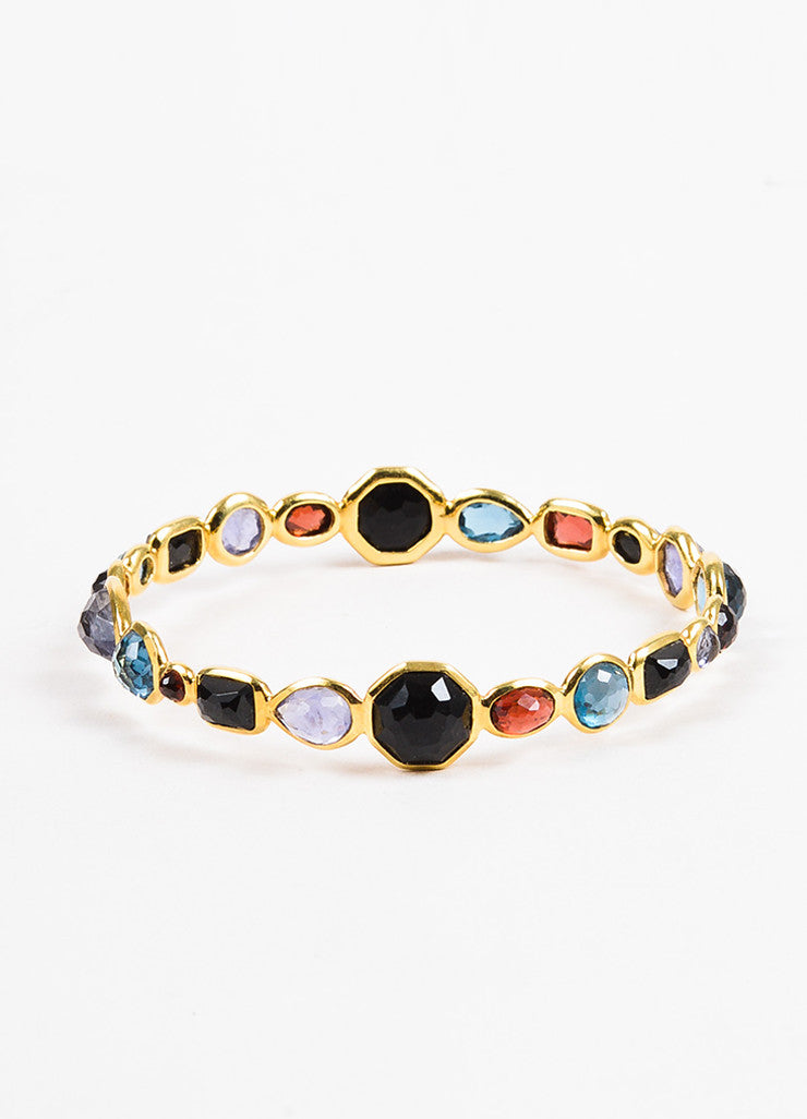 "Ippolita 18K Yellow Gold Multicolor Gemstone ""Rock Candy"" Bangle Bracelet Frontview"