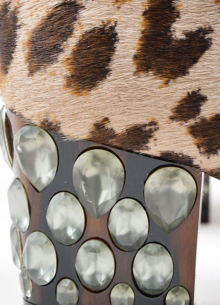 Lanvin Multi-Brown Pony Hair Leopard Print Heeled Boots Detail