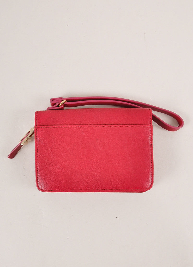Lanvin Magenta Leather Wristlet Frontview