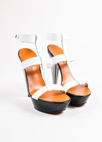 Lanvin White and Black Leather Lucite Heel Open Toe Platform Sandals Frontview