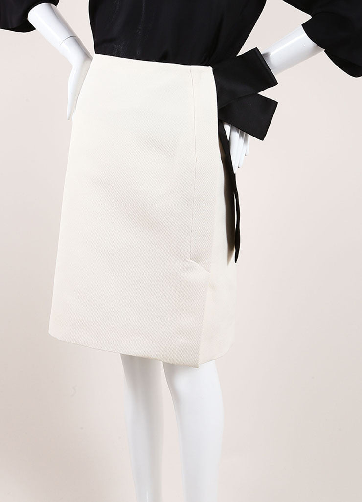 Lanvin New With Tags Cream and Black Textured Knit Oversized Bow Pencil Skirt Sideview