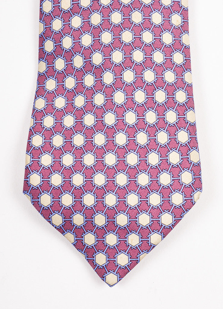 Men's Hermes Purple, Blue, and Beige Silk Geometric Print Necktie Detail