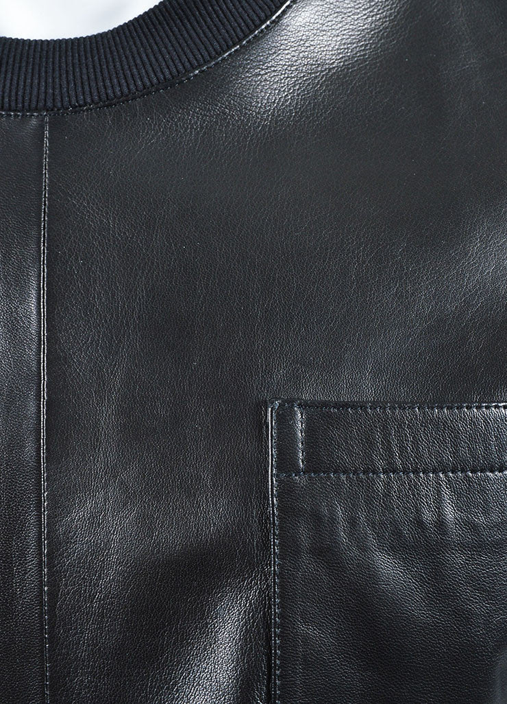 Men's Givenchy Black Leather Zipper Accent Tee Shirt Detail 2