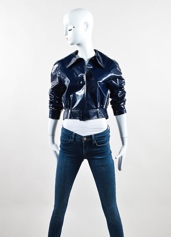 Martin Grant Navy Blue Patent Belted Cropped Jacket Frontview