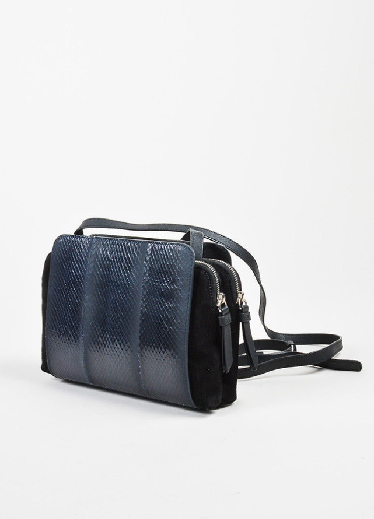 "Black and Blue Nina Ricci Suede and Snakeskin Cross Body ""Marche Duo"" Bag Sideview"