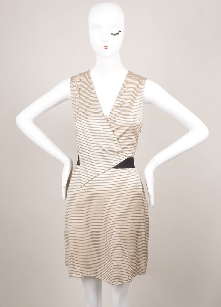 3.1 Phillip Lim Nude and Black Cotton and Silk Striped V-Neck Sleeveless Dress Frontview