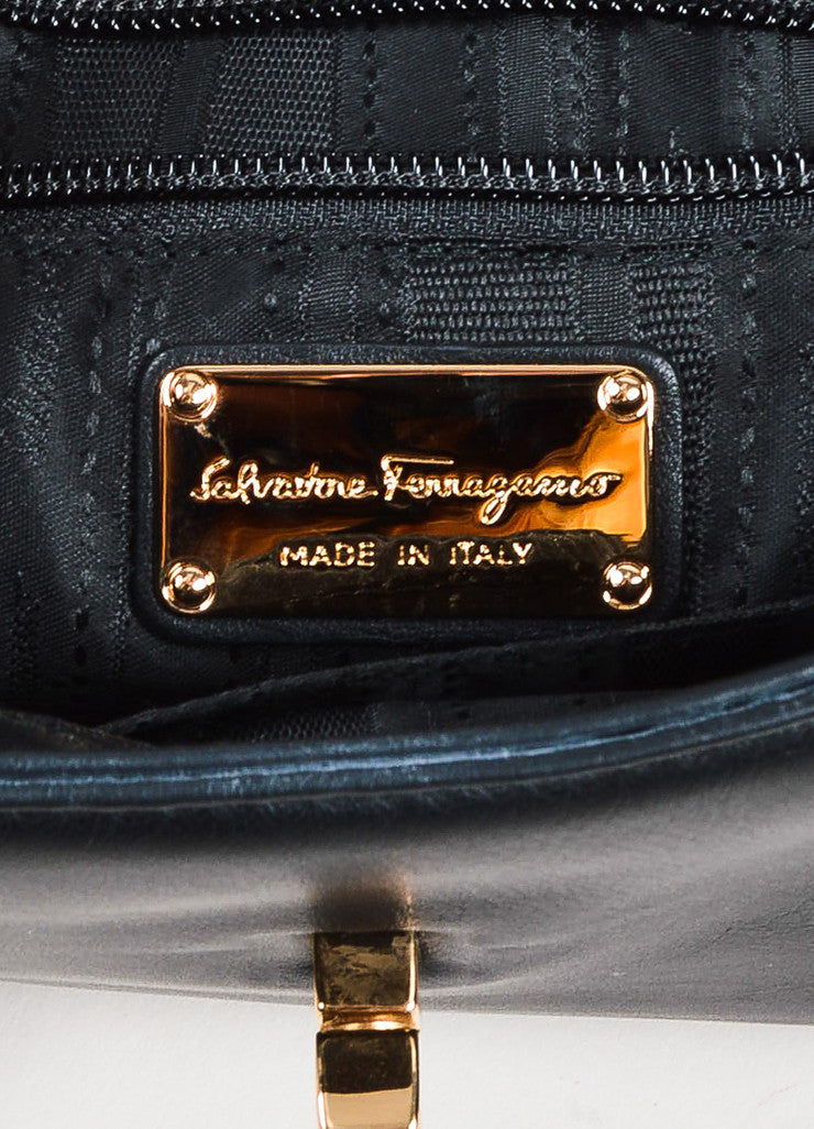 "Salvatore Ferragamo Black Leather ""Gancini"" Turn Lock Wristlet Clutch Bag Brand"
