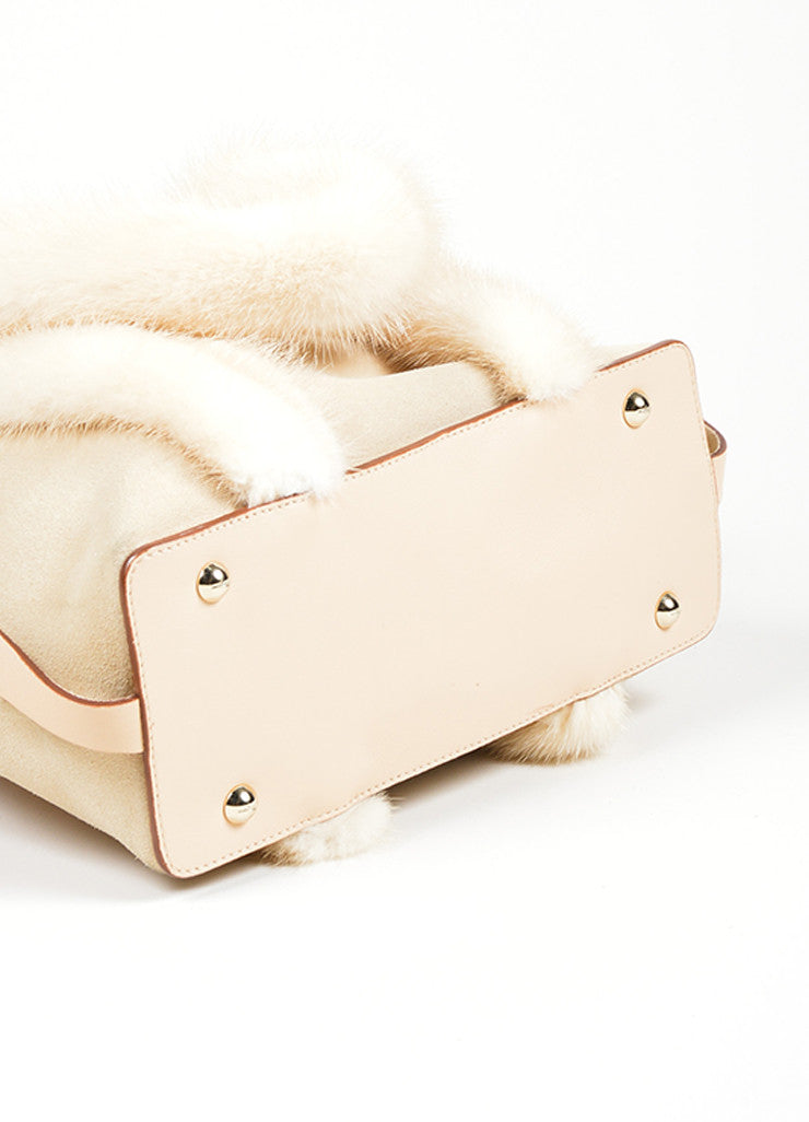Beige Salvatore Ferragamo Suede and Mink Fur Handle Shoulder Bag Bottom View