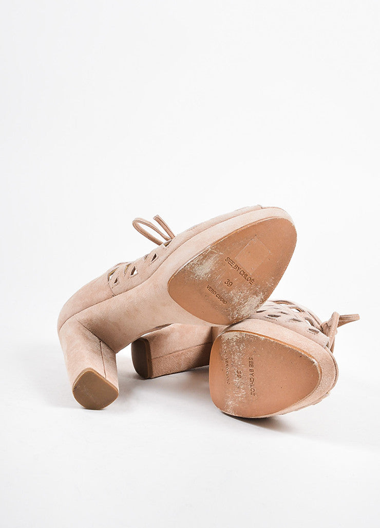 See by Chloe Nude Suede Cut Out Platform Open Toe Heels Outsoles