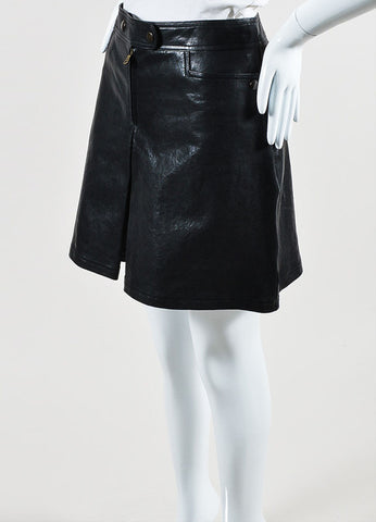 Black Tomas Maier Coated Leather Pleated Skort Sideview