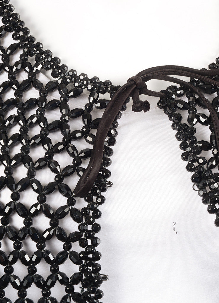 Vintage Black Faceted Woven Bead Tie Cropped Vest Detail