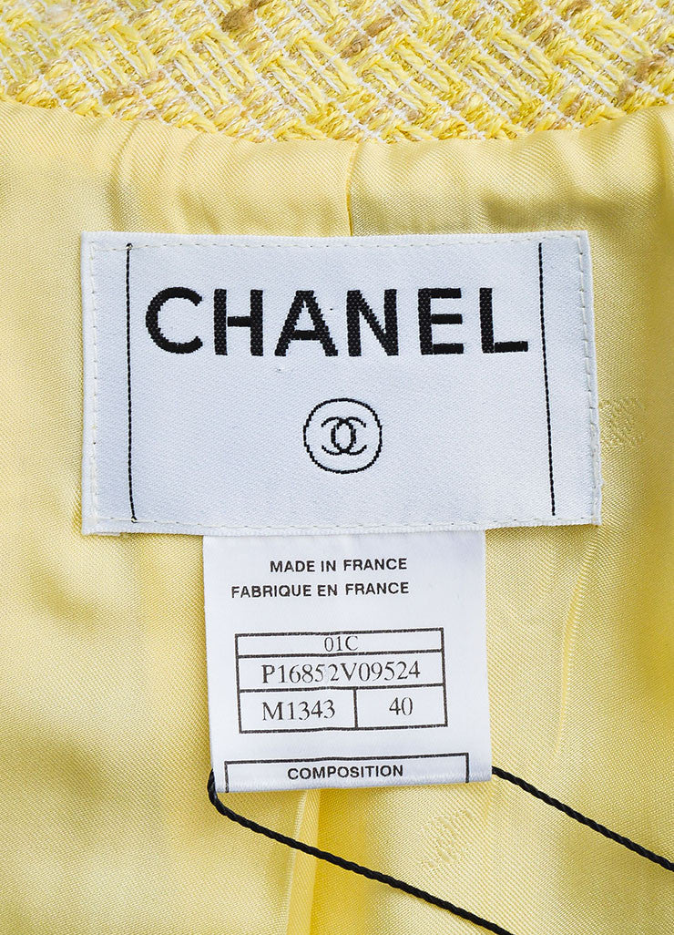 Chanel Yellow and White Tweed Zipped Front Split Long Structured Coat Brand