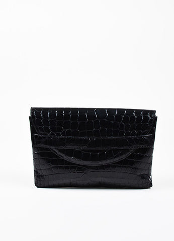 Titti Dell'Acqua Black Alligator Leather Flap Clutch Bag Frontview