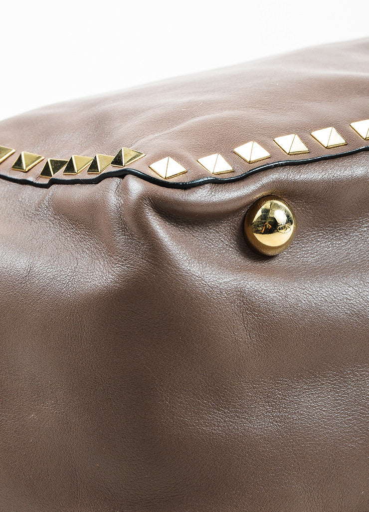 Valentino Taupe Leather Gold Toned Rockstud Medium Tote Bag Detail