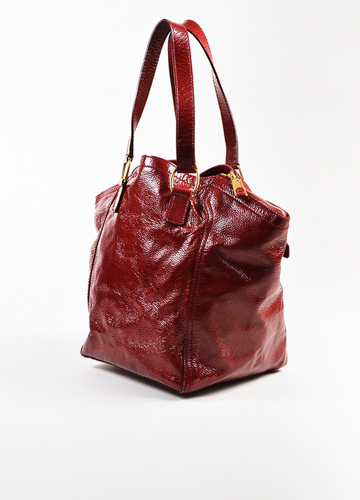 "Yves Saint Laurent Rive Gauche Red Patent Leather Small ""Downtown"" Bag Sideview"