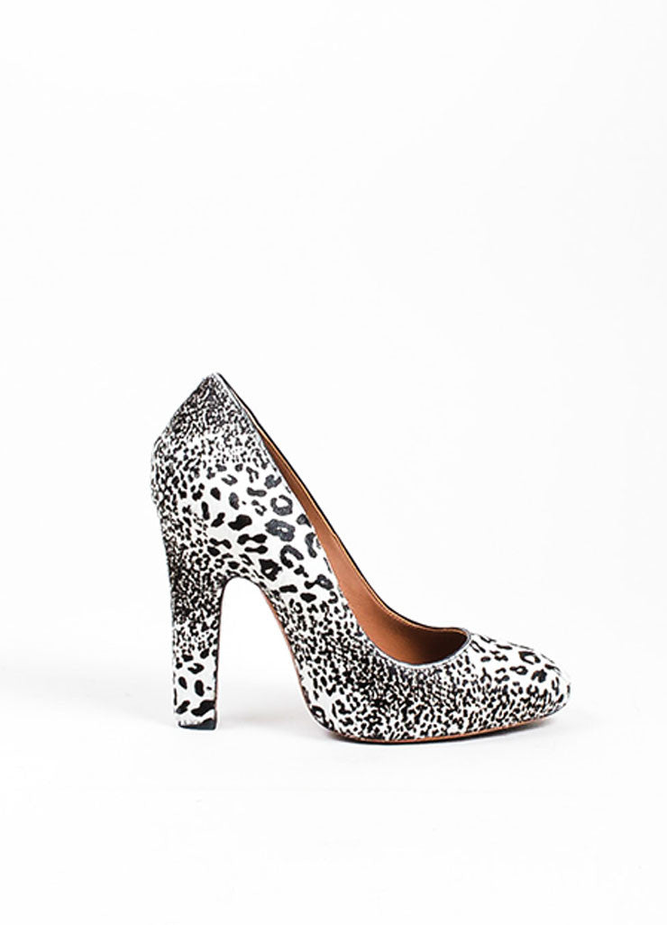 Brown and White Alaia Haircalf and Leather Leopard Print Tower Pumps Sideview