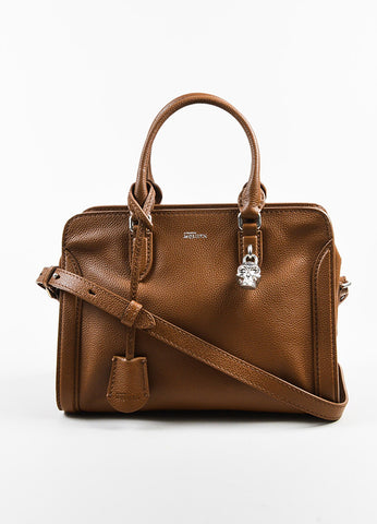 "Alexander McQueen Brown Pebbled Leather ""Small Padlock Satchel"" Bag Frontview"