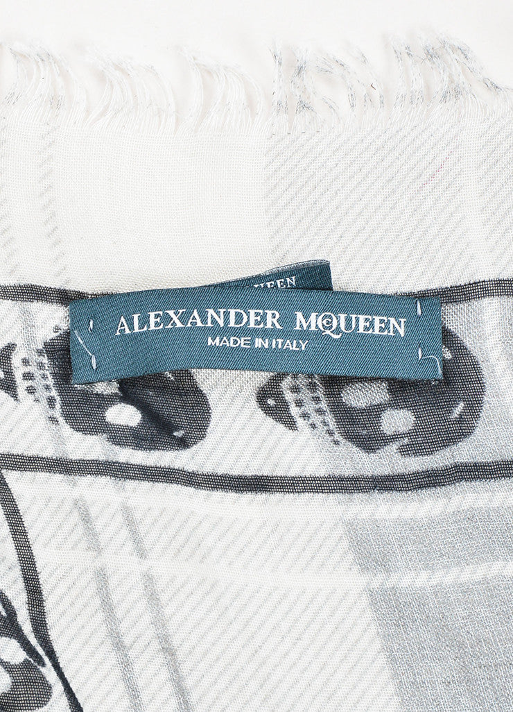 White Grey Black Alexander McQueen Plaid Skull Scarf Brand