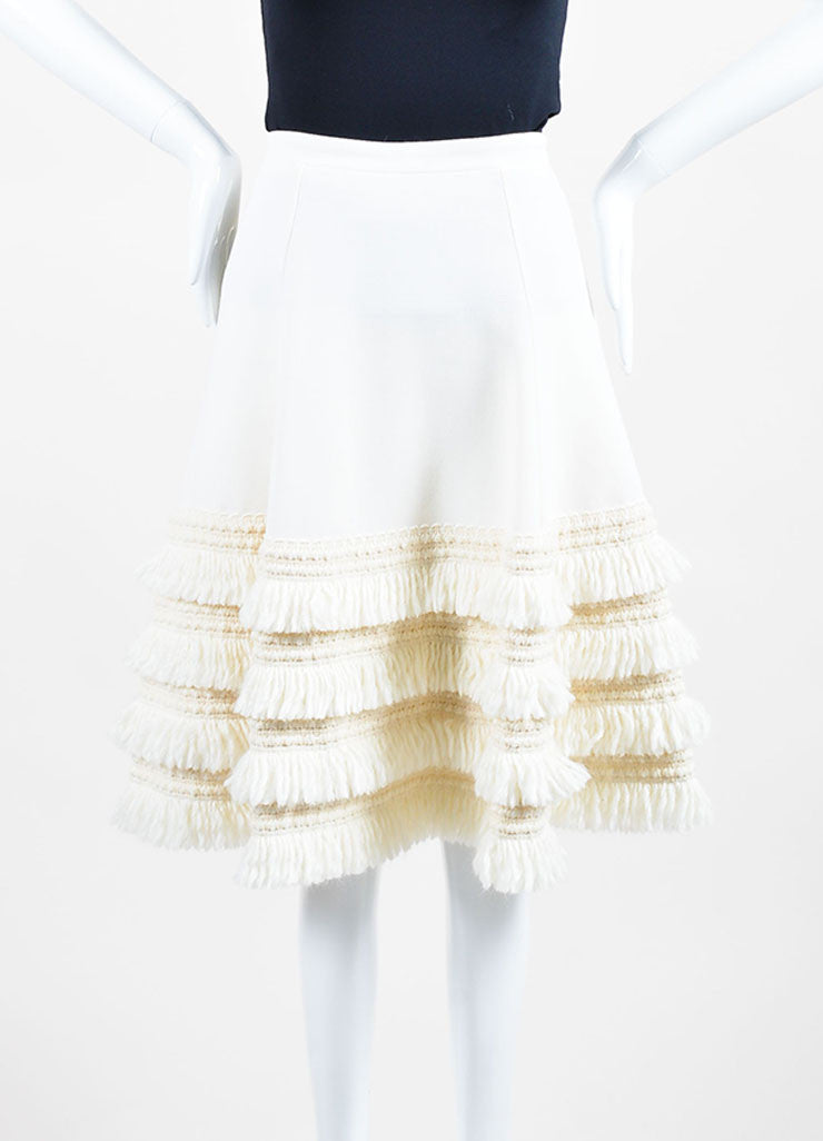 Cream Andrew Gn Virgin Wool Tiered Fringe A-Line Skirt Frontview