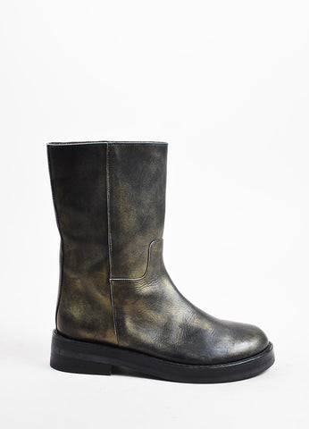 Ann Demeulemeester Black and Gold Metallic Airbrushed Mid Calf Combat Boots sideview