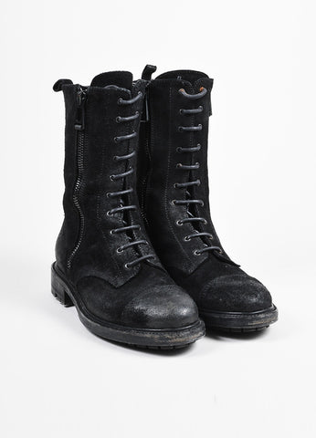 "Belstaff Black Waxed Suede Lace Up Double Zip Cap Toe ""Combat"" Boots Frontview"