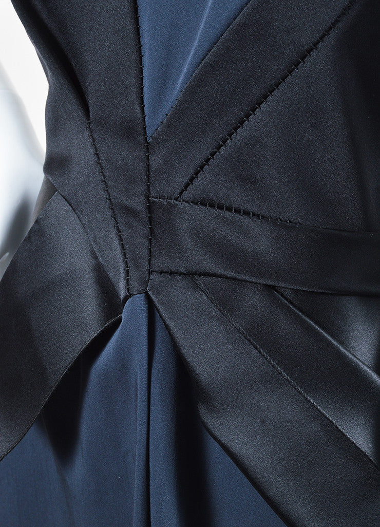 Black and Navy Bottega Veneta Wool and Silk Bow Structured Sleeveless Dress Detail