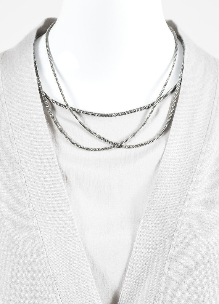 Grey Brunello Cucinelli Cashmere and Silk Beaded Neck Sweater Detail