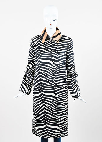 Celine White, Black, and Tan Zebra Striped Pony Hair Collar Jacket Frontview 2
