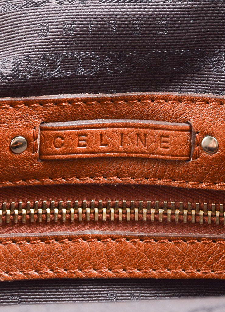 Celine Caramel Pebbled Leather Satchel Handbag Brand
