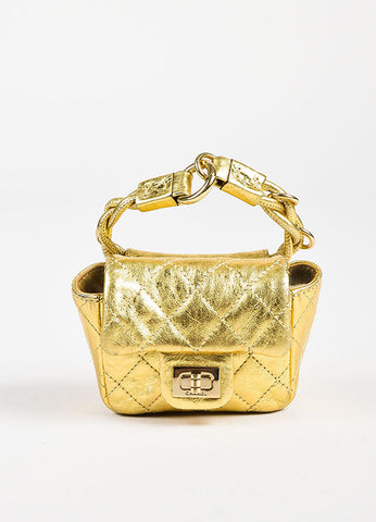 "Chanel Gold Metallic Quilted Leather ""Reissue Anklet"" Mini Bag Frontview"