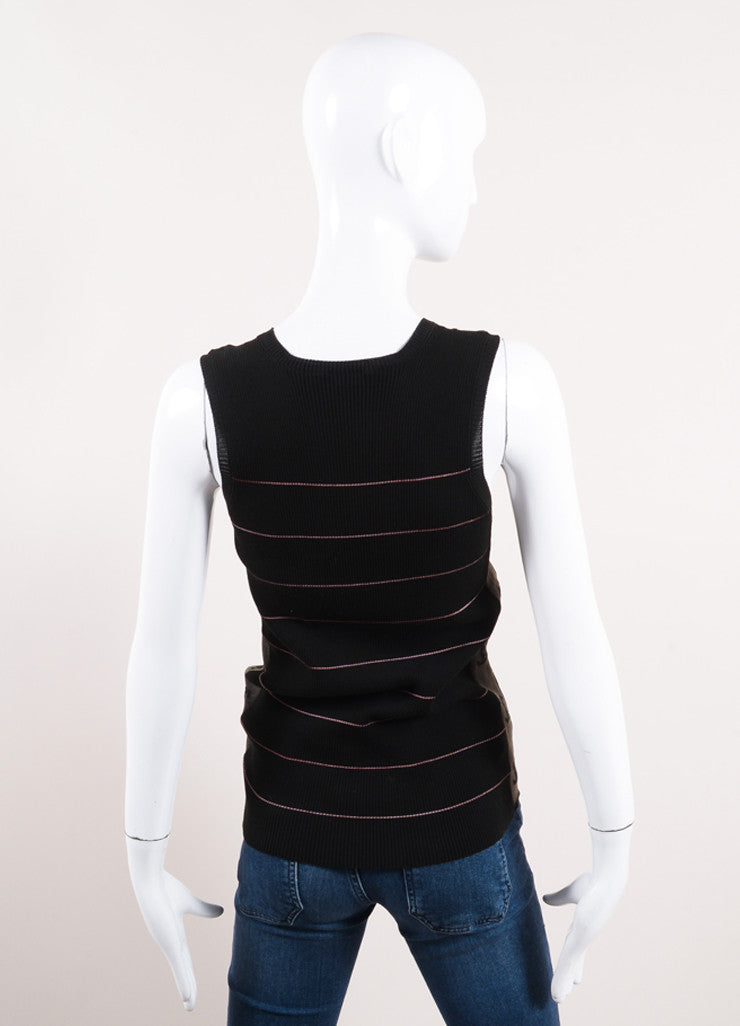 "Chanel Black and Pink Striped Ribbed Knit ""CC"" Sheer Panel Tank Top Backview"