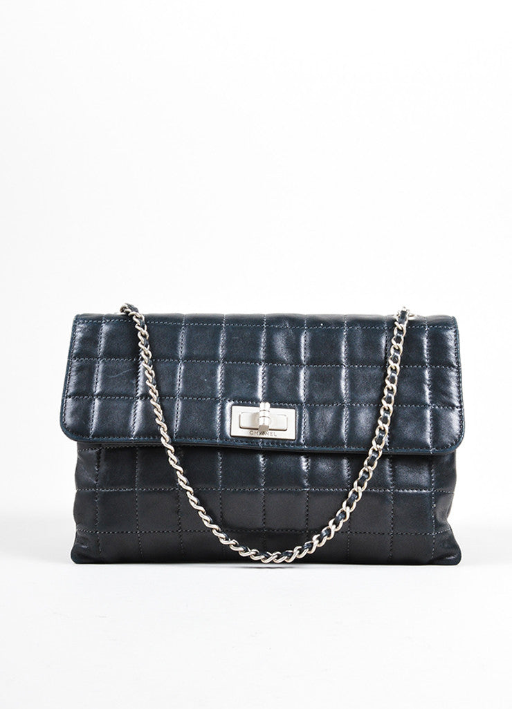 "Chanel Black Quilted Leather ""Chocolate Bar"" Shoulder Bag Frontview"
