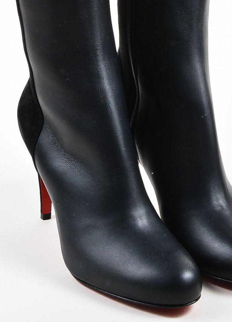 "Black Christian Louboutin Leather ""Acheval 85"" Boots Detail"