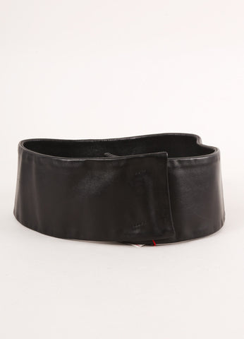 Costume National New With Tags Black Leather Wide Belt Frontview