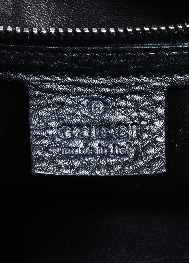 "Black Leather and Silver Toned Chain Gucci ""Icon Bit Large Boston"" Duffle Purse Bag Brand"