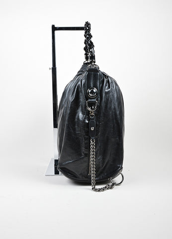 "Black Gucci Leather Top Zip Asymmetrical Slouchy ""Galaxy"" Hobo Shoulder Bag Sideview"