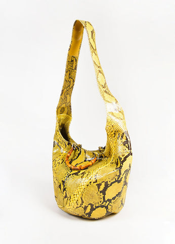 Gucci Brown and Yellow Python Leather Bamboo Handle Hobo Bag Sideview