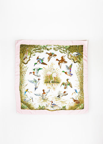 "Pink and Green Hermes Silk Bird Print ""Halte en Camargue"" Square Scarf Frontview 2"