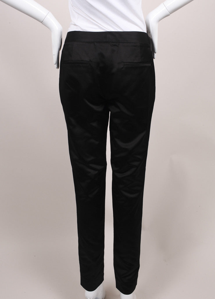 Jason Wu New Black Silk Duchess Satin Stovepipe Dress Pants Backview