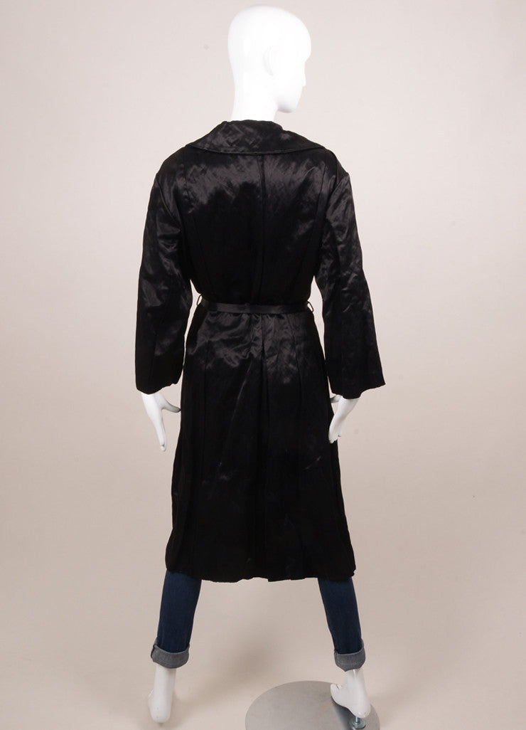 Lanvin Black Cotton Blend Buttoned and Belted Trench Coat Backview